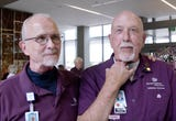 Two  Banner MD Anderson Cancer Center volunteers both had  laryngectomies after having cancer. Now they assist cancer patients and each other.
