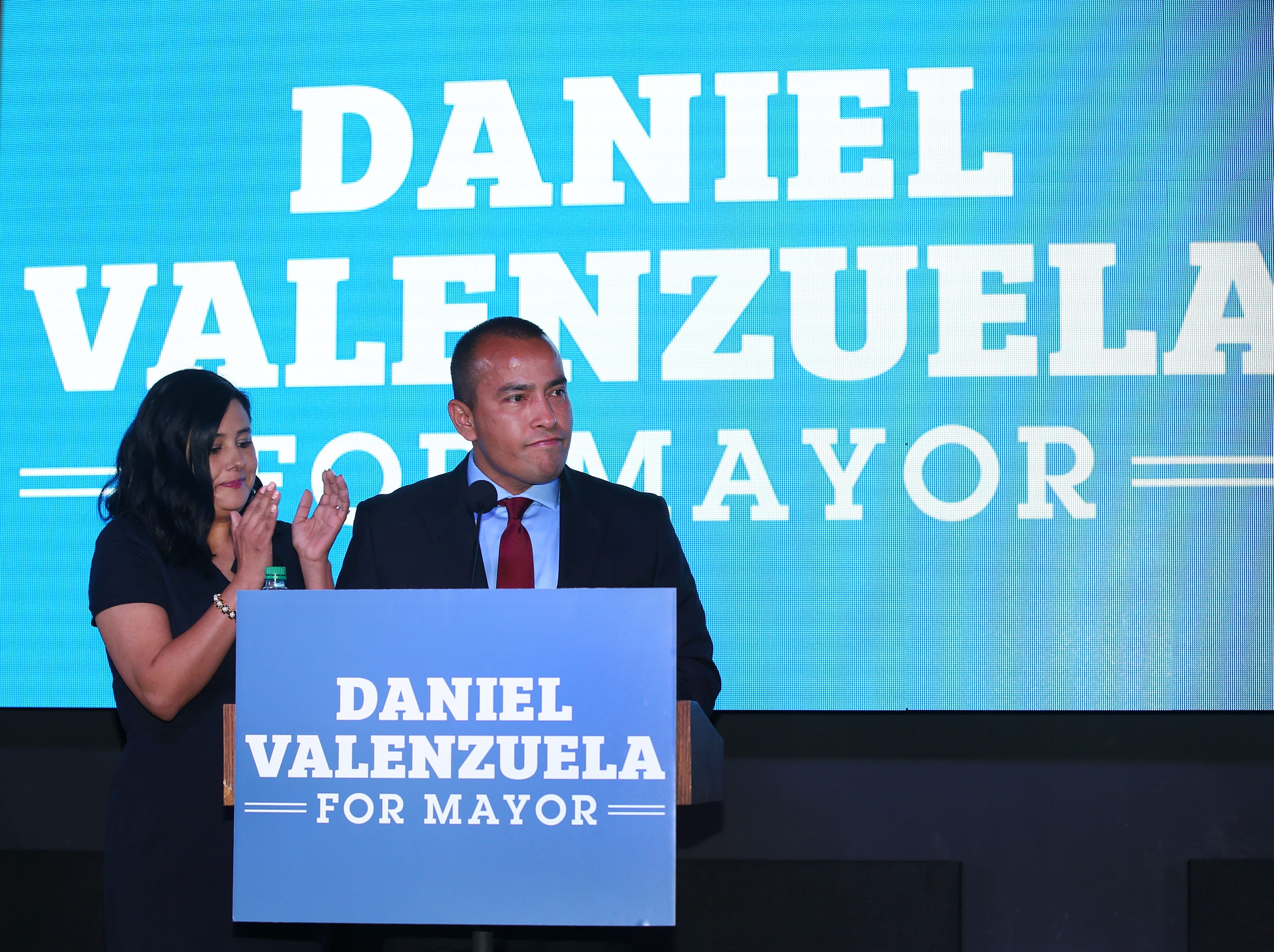 Daniel Valenzuela, candidate for Phoenix Mayor makes his concession speech with his wife Wendy at his side on March 12, 2019, in Phoenix.