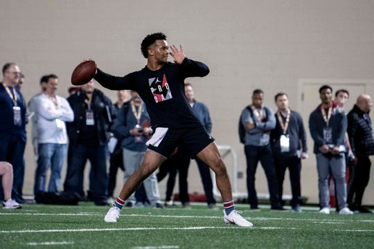 Oklahoma quarterback Kyler Murray reaches back to throw at his Pro Day at the Everest Indoor Training Center at Oklahoma.