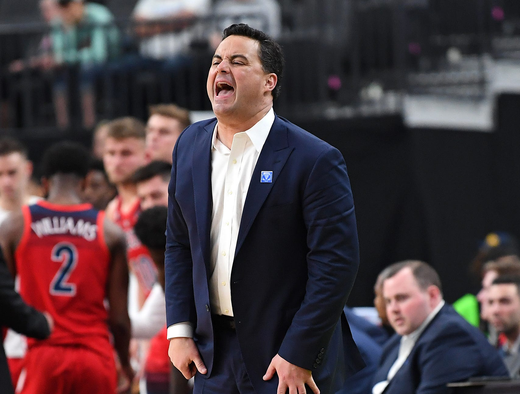 Mar 13, 2019; Las Vegas, NV, United States; Arizona Wildcats head coach Sean Miller reacts during the first half against the USC Trojans in a Pac-12 conference tournament game at T-Mobile Arena. Mandatory Credit: Stephen R. Sylvanie-USA TODAY Sports