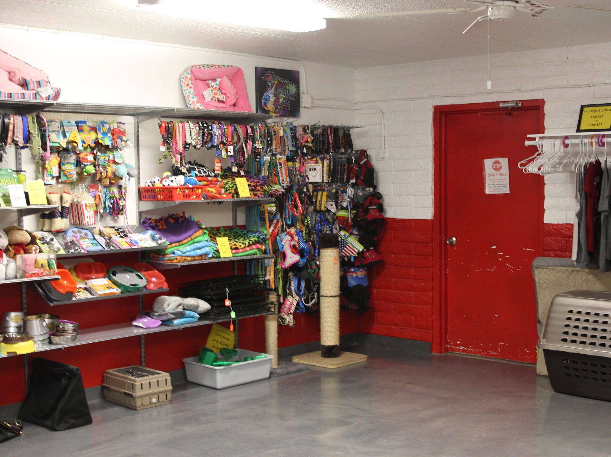 """Home """"Fur"""" Good's entry room with toys and pet supplies on display for sale. Revenue from sales help go toward funding operations."""