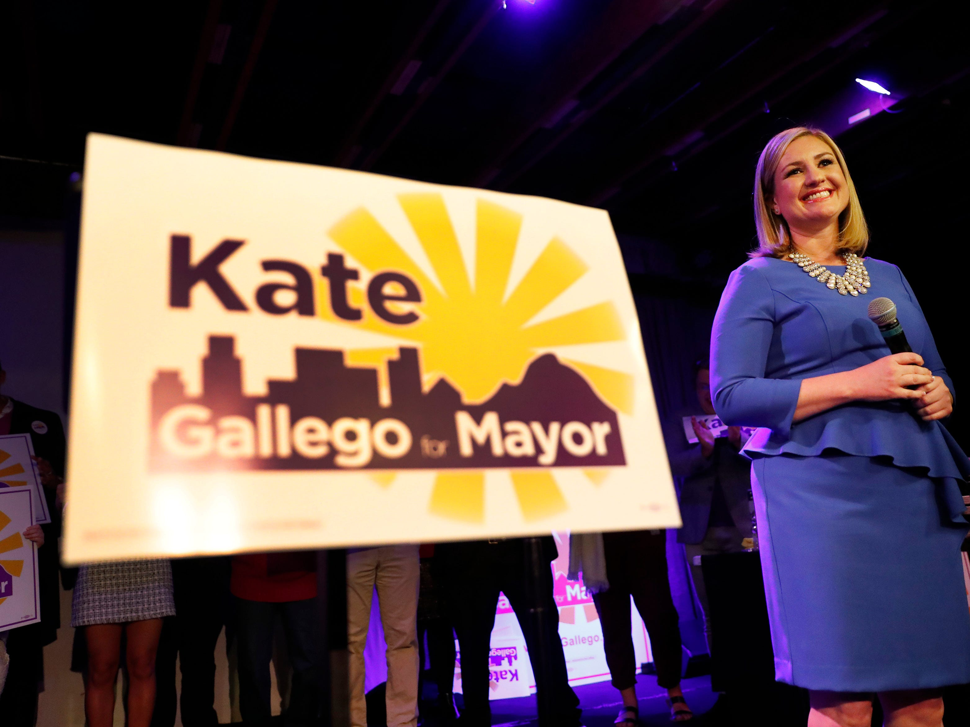 Democrat Kate Gallego talks to supporters after declaring victory in the Phoenix mayoral race at an election-night party at Crescent Ballroom in Phoenix on March 12, 2019.