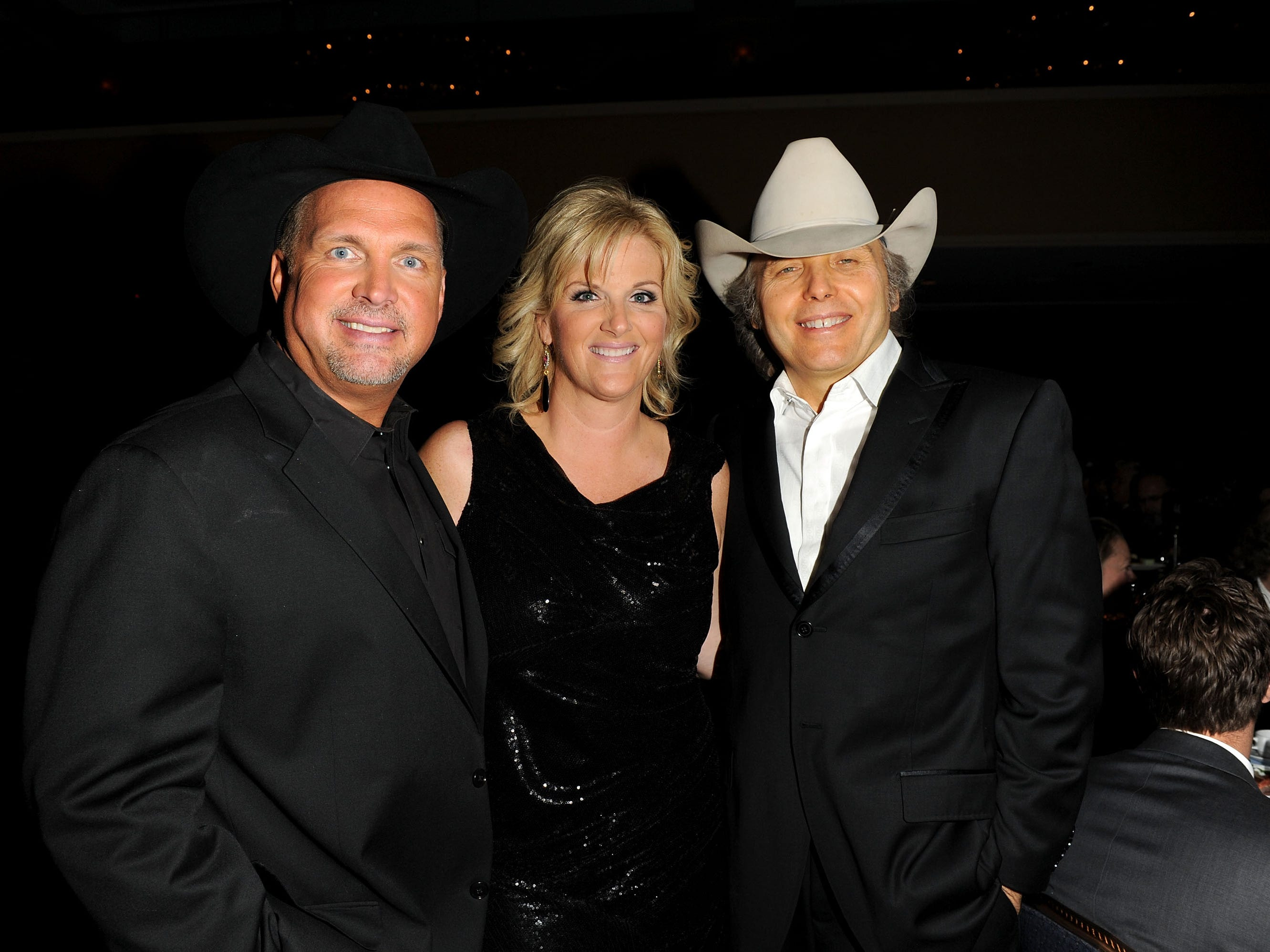 Trisha Yearwood, Garth Brooks and Dwight Yoakam attend the Songwriters Hall of Fame 42nd Annual Induction and Awards at The New York Marriott Marquis Hotel - Shubert Alley on June 16, 2011 in New York City.