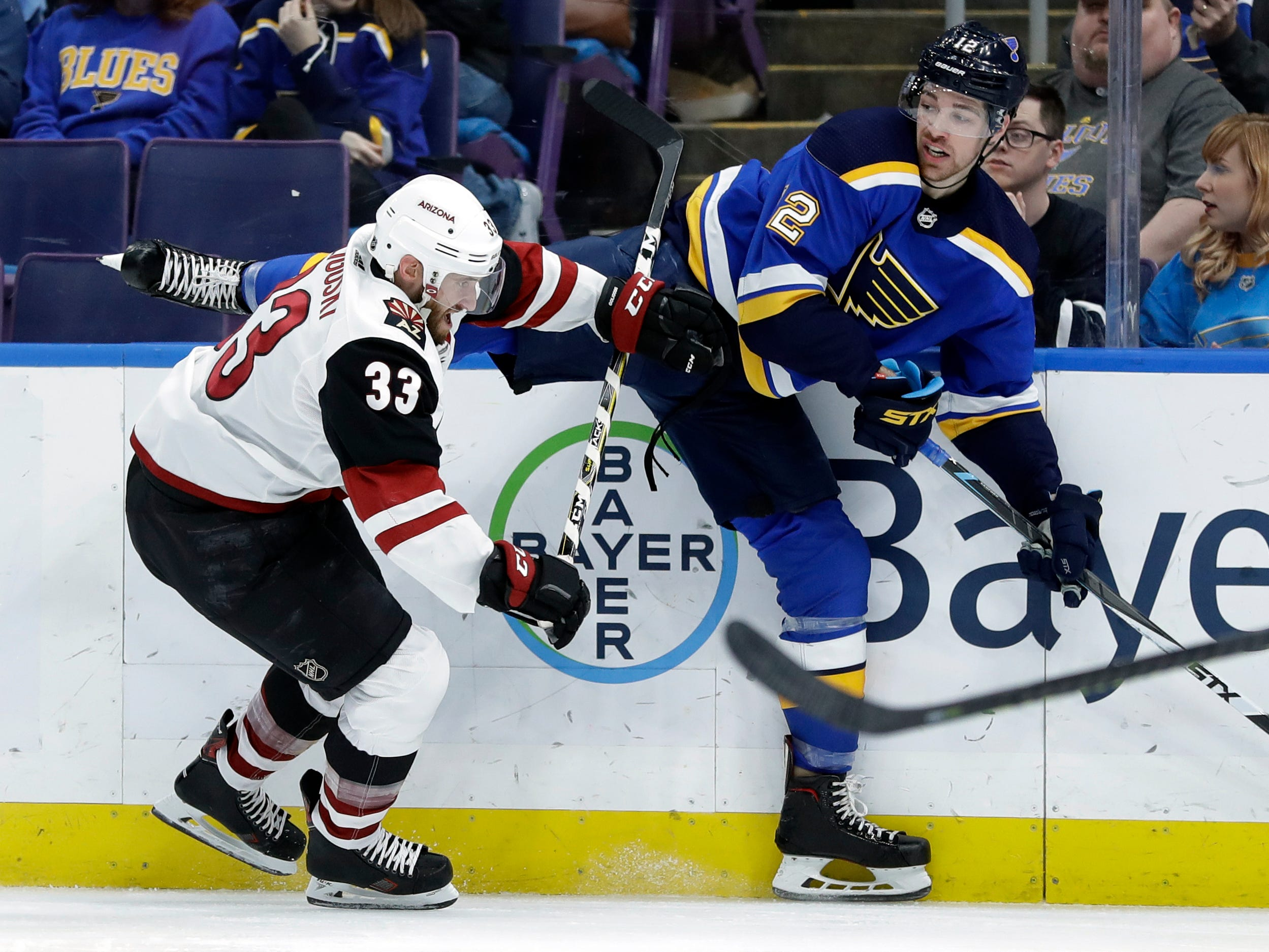 St. Louis Blues' Zach Sanford, right, gets tangled up with Arizona Coyotes' Alex Goligoski (33) during the second period of an NHL hockey game, Tuesday, March 12, 2019, in St. Louis.
