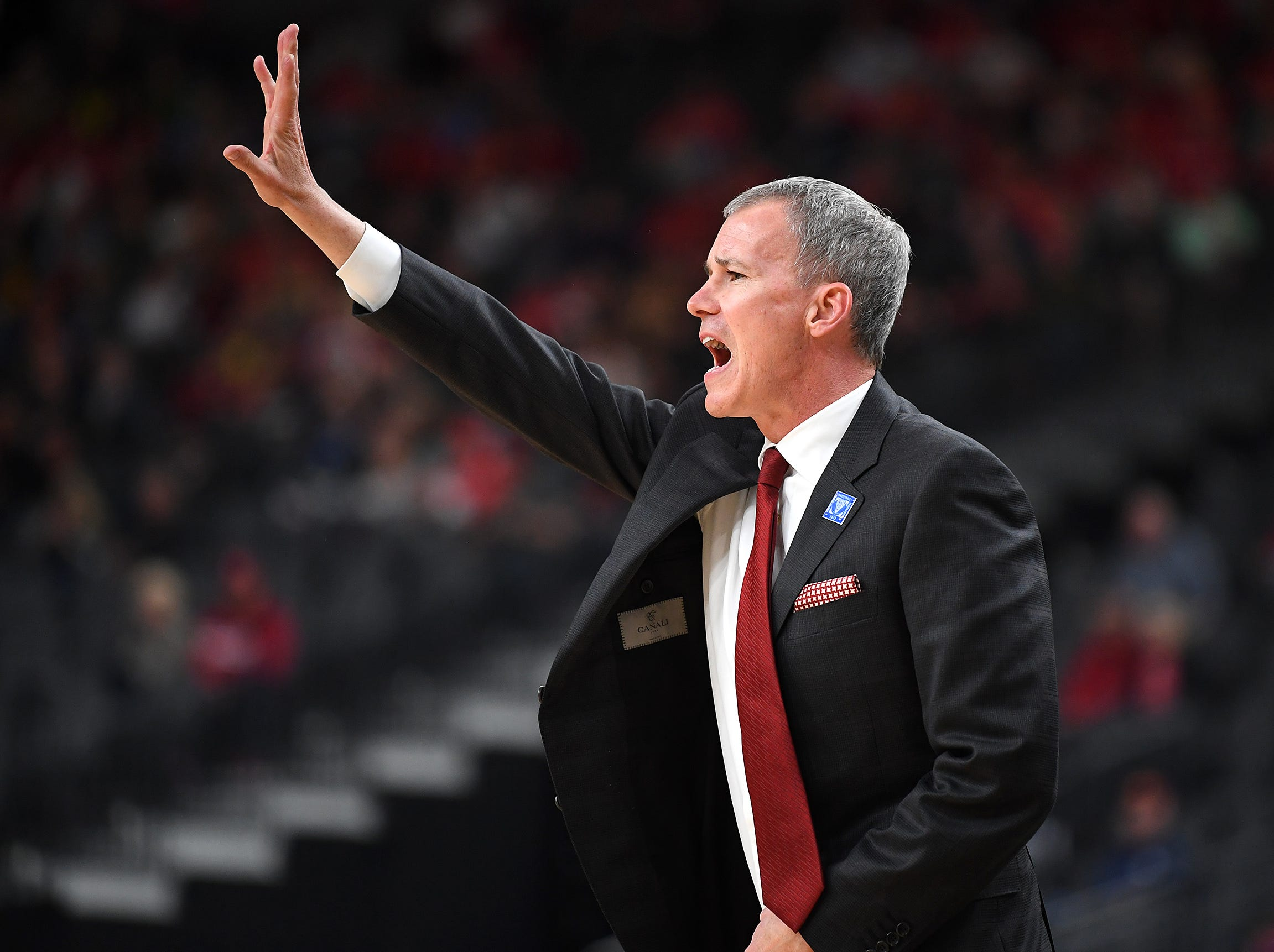 Mar 13, 2019; Las Vegas, NV, United States; USC Trojans head coach Andy Enfield calls a play during the first half against the Arizona Wildcats in a Pac-12 conference tournament game at T-Mobile Arena. Mandatory Credit: Stephen R. Sylvanie-USA TODAY Sports