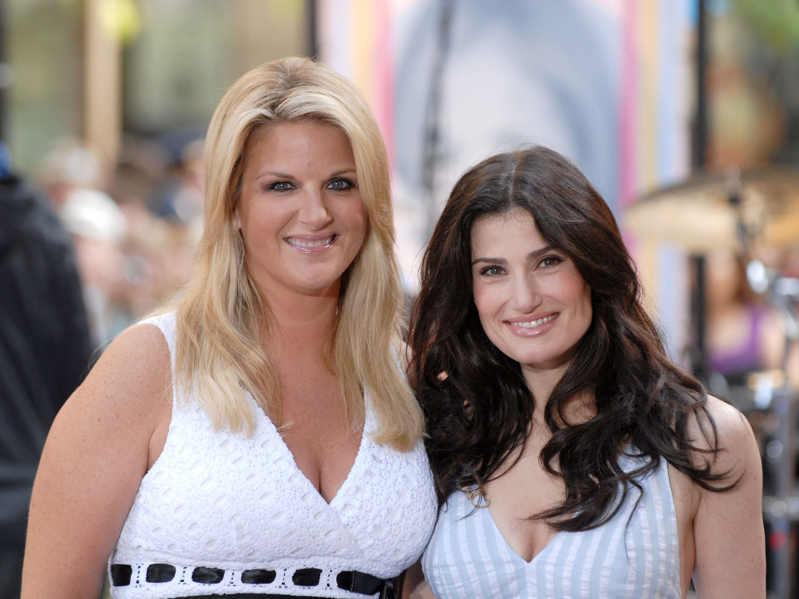 """Trisha Yearwood and Idina Menzel appear on the NBC """"Today"""" show during a family and friends farewell program for  Co-Anchor Katie Couric May 31, 2006 in New York City."""