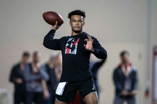 Oklahoma quarterback Kyler Murray participates in a throwing drill during his Pro Day at the Everest Indoor Training Center at Oklahoma.