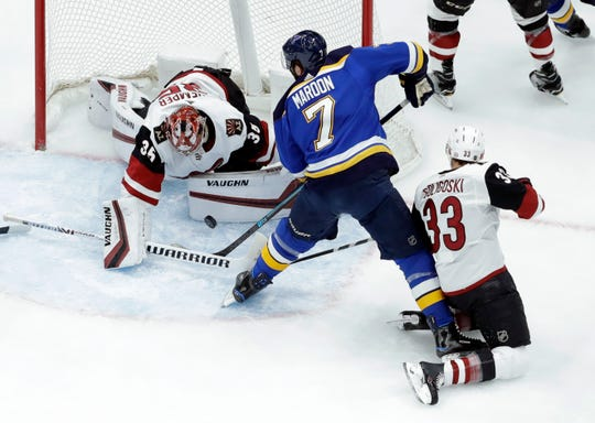 Arizona Coyotes goaltender Darcy Kuemper (35) denies St. Louis Blues' Pat Maroon (7) as Coyotes' Alex Goligoski (33) watches during the first period of an NHL hockey game, Tuesday, March 12, 2019, in St. Louis.