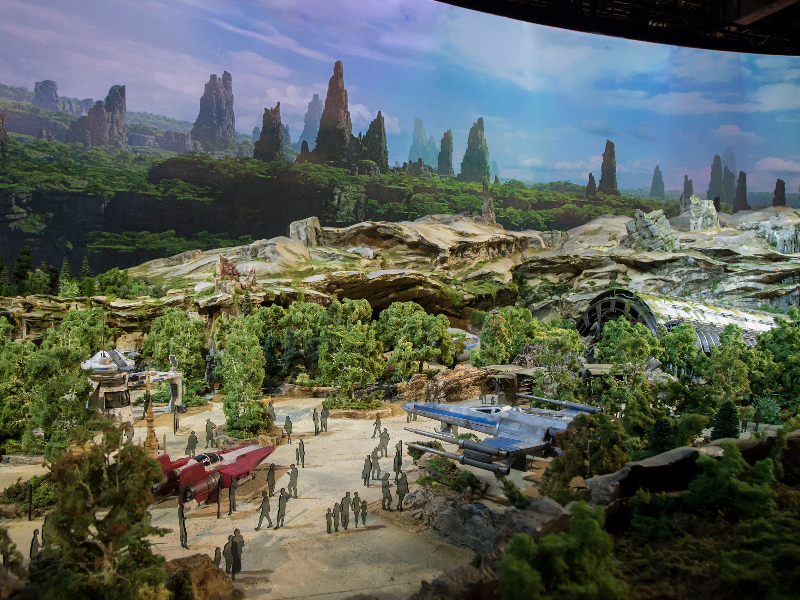 An early model shows off Star Wars: Galaxy's Edge, where guests will see some of the film franchise's famous ships. It opens May 31, 2019, at Disneyland.