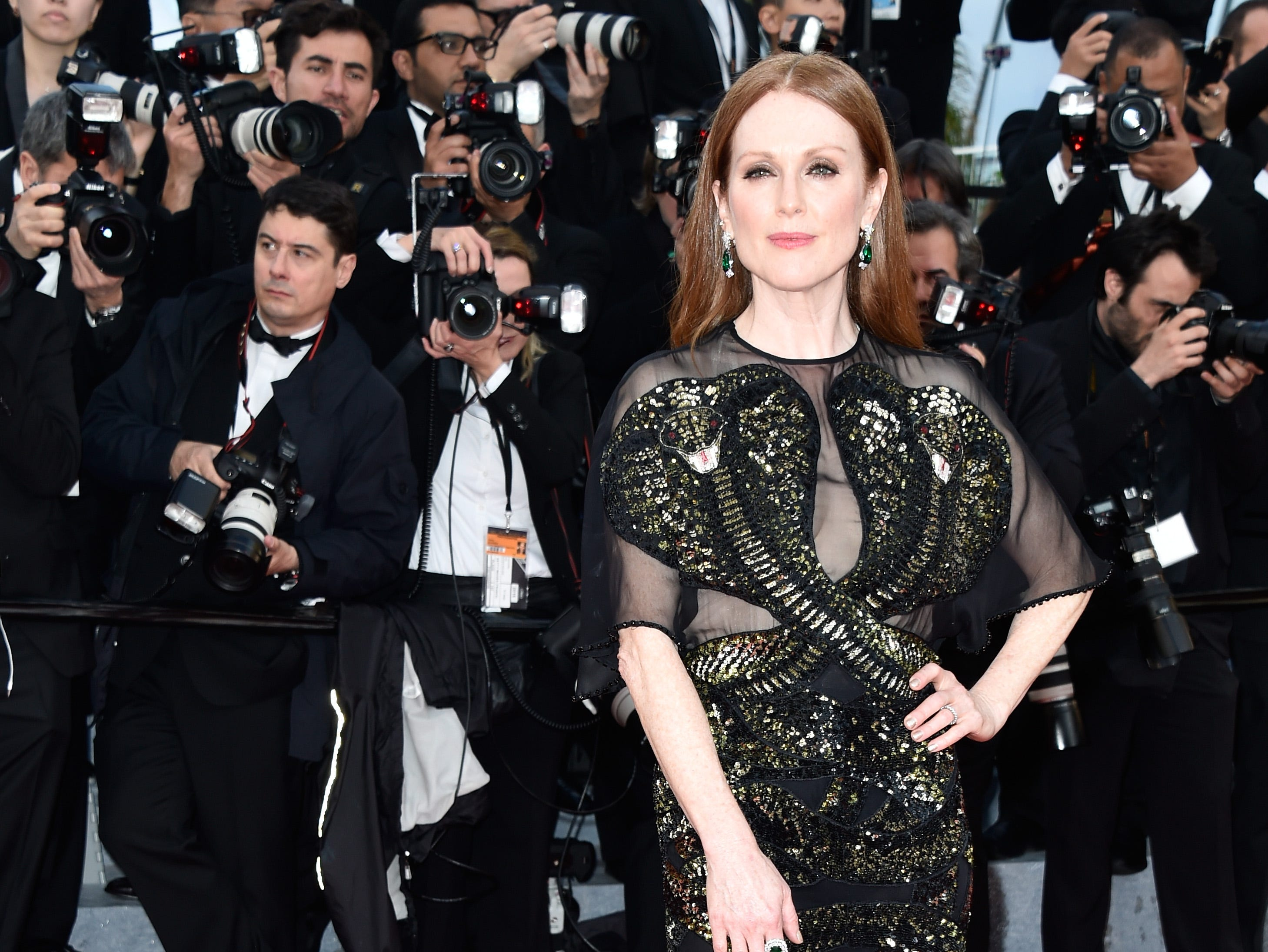 """Julianne Moore attends the """"Cafe Society"""" premiere and the Opening Night Gala during the 69th annual Cannes Film Festival at the Palais des Festivals on May 11, 2016 in Cannes, France."""