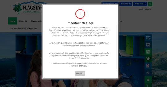 Screen shot of Flagstaff Unified School District message