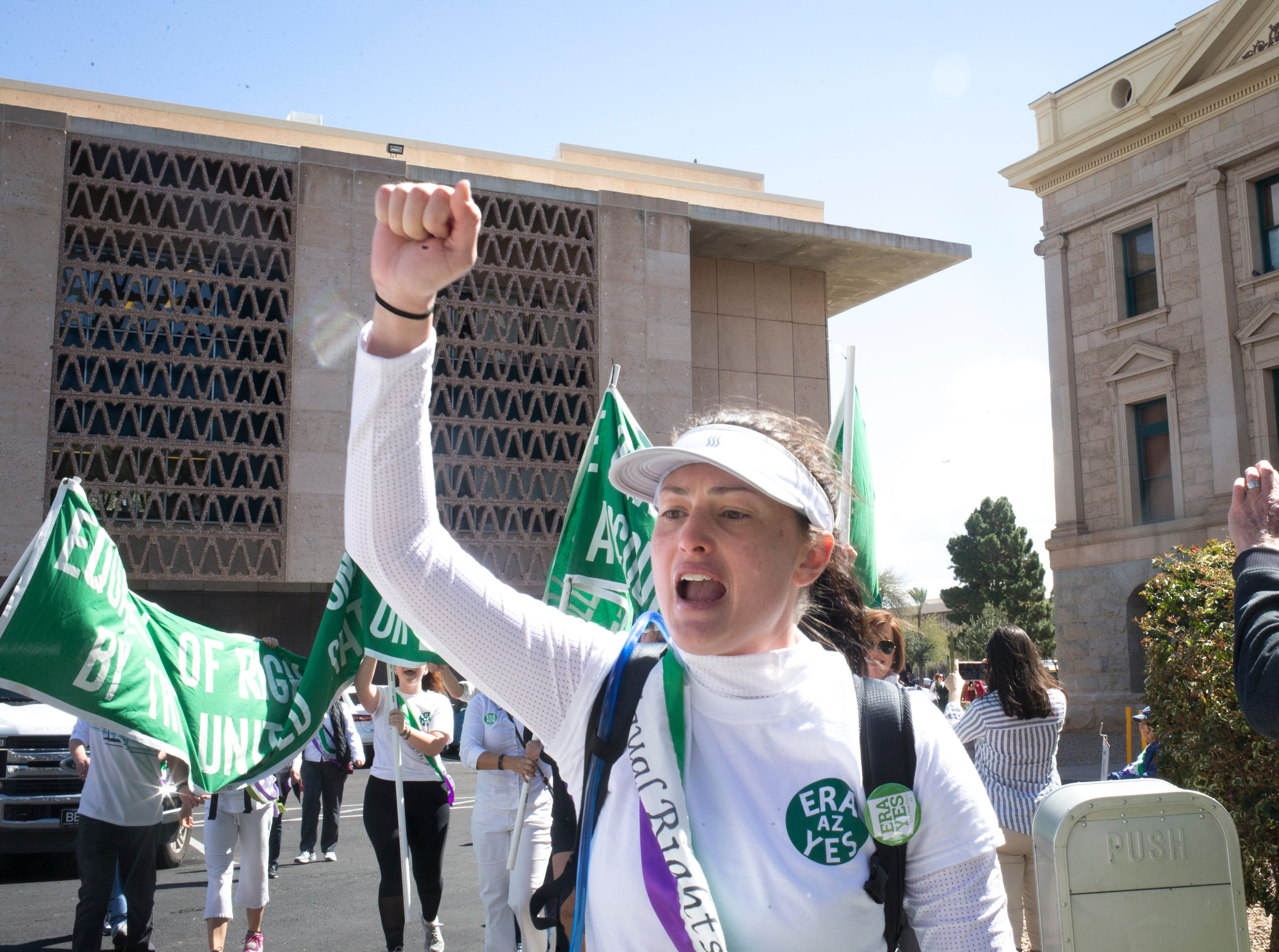 The ERA March arrives at the Arizona state Capitol March 13, 2019.