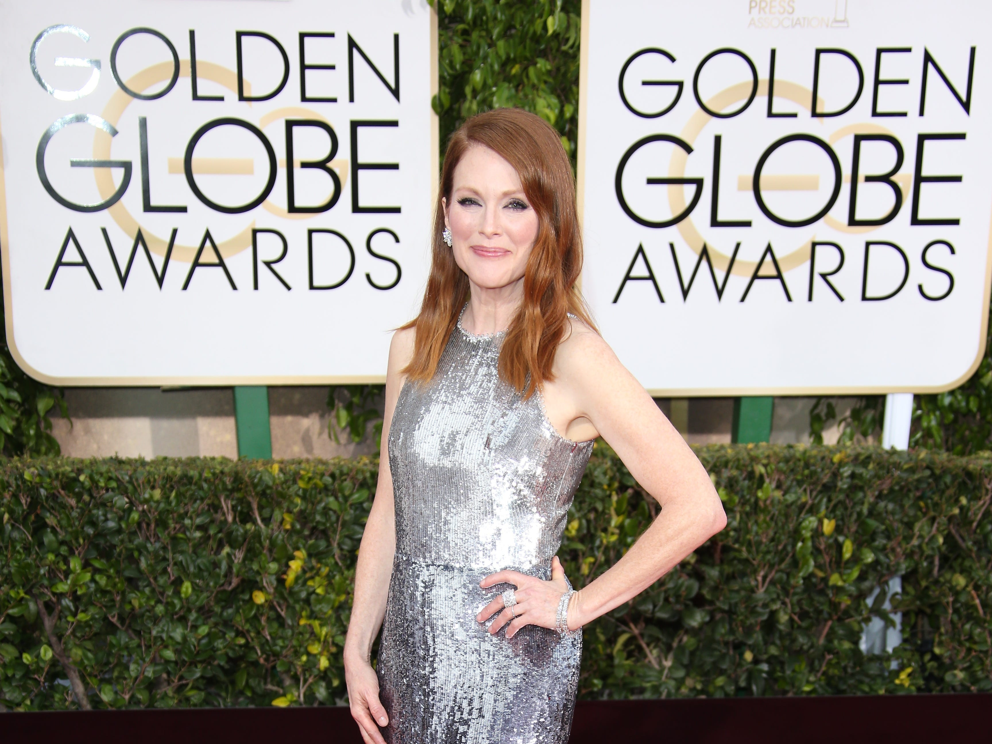 Julianne Moore arrives at the 72nd annual Golden Globe Awards in 2015.