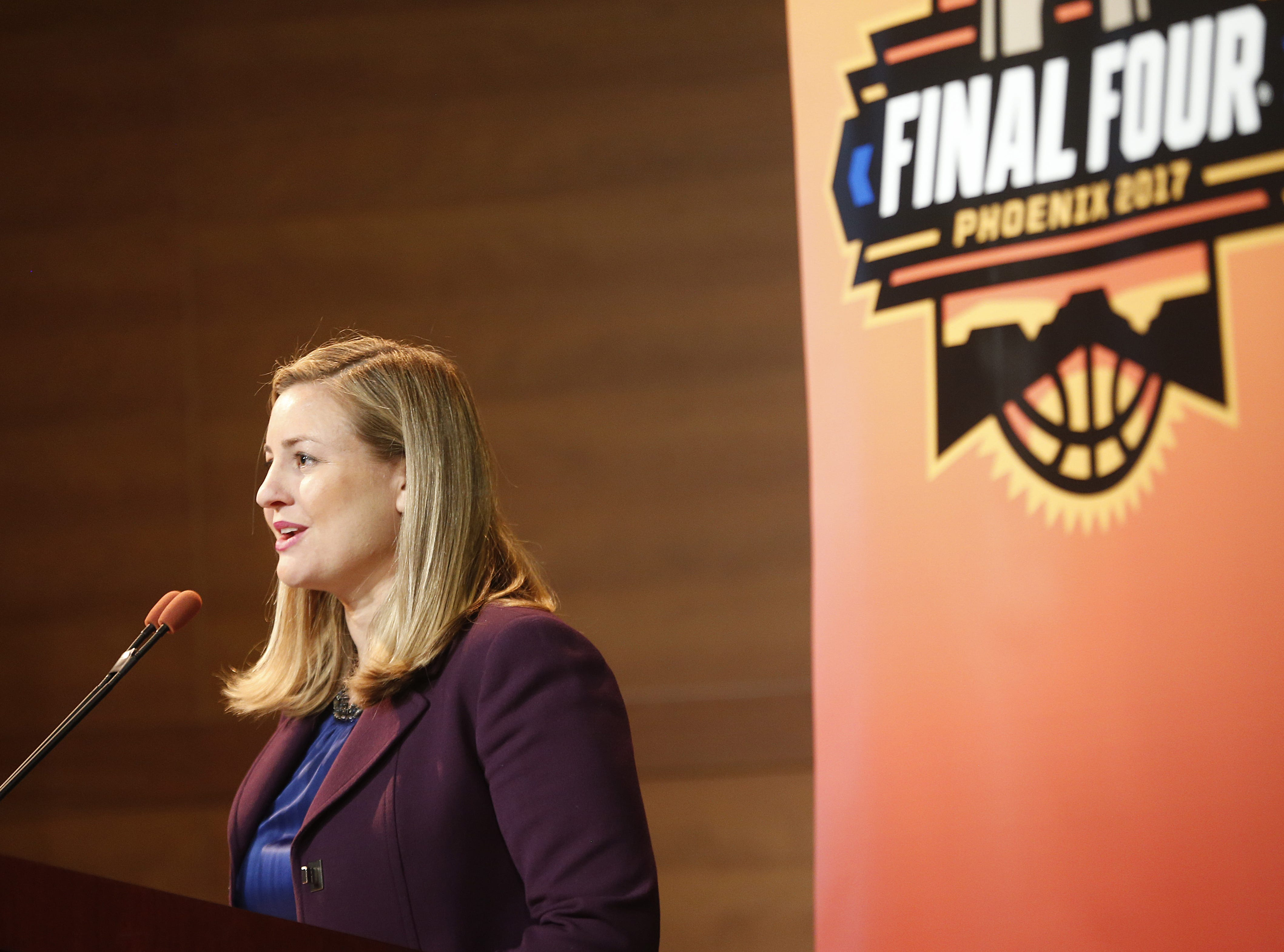 Councilwoman Kate Gallego speaks to the press during the media briefing for the Final Four at the Phoenix Convention Center on March 24, 2017 in Phoenix, Ariz.