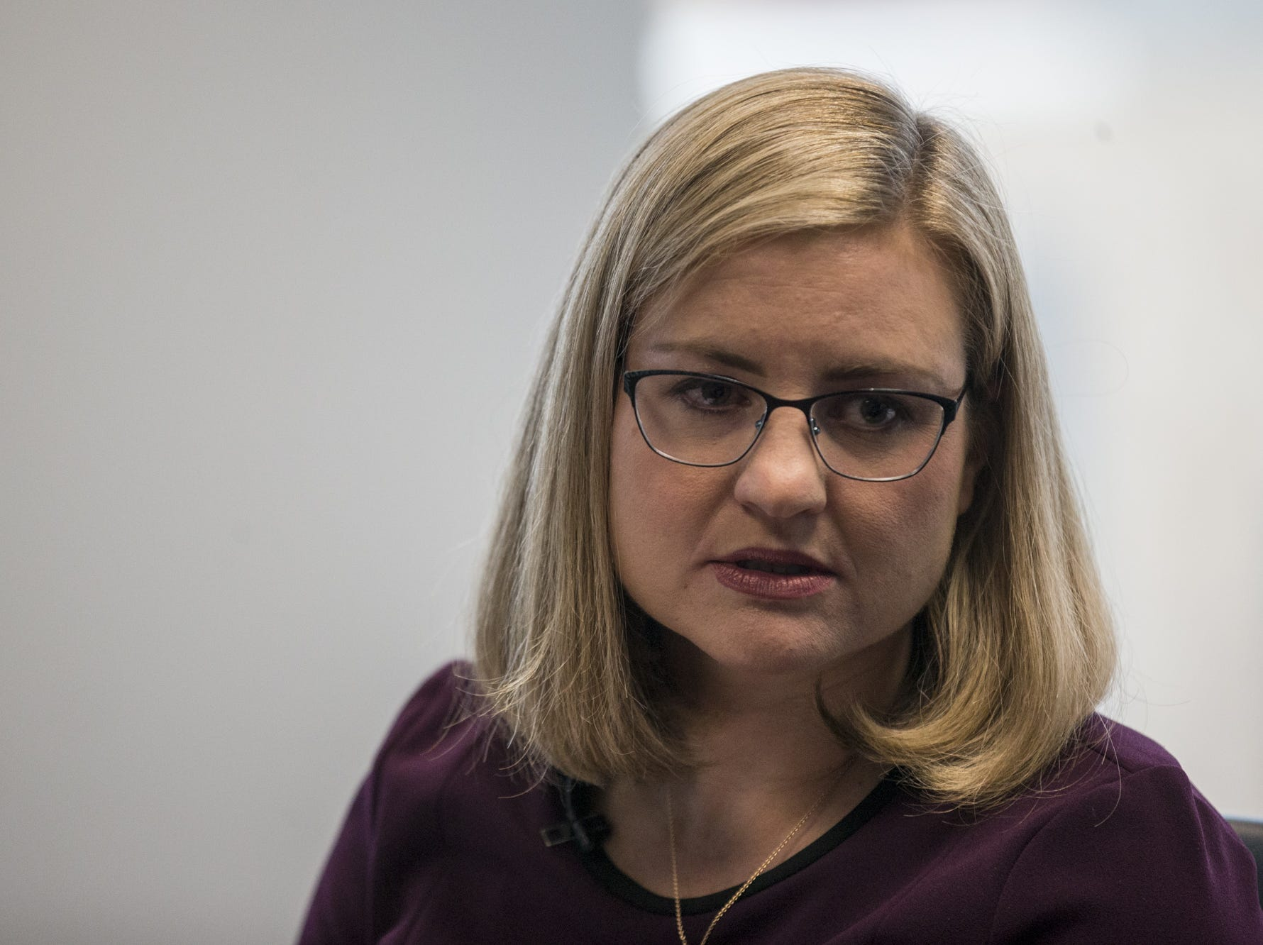 Phoenix mayoral candidate Kate Gallego speaks during a meeting with the editorial board on Thursday, Feb. 14, 2019, at The Arizona Republic in Phoenix.