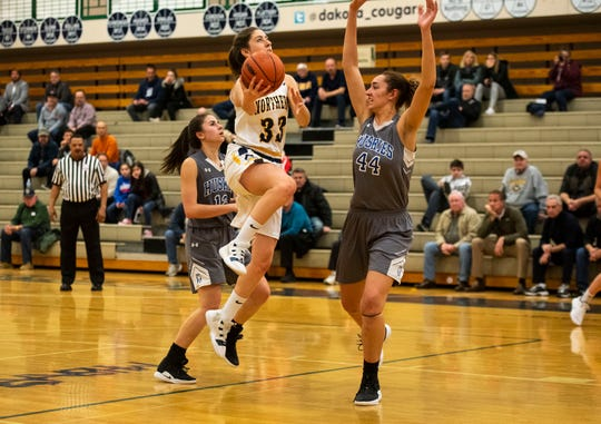 Lakeview High School center Joslyn Brennan (44) tries to block Port Huron Northern High School forward Syndey Koppinger during the MHSAA Division 1 Region 8 girls basketball finals Wednesday, March 13, 2019 at Macomb Dakota High School.