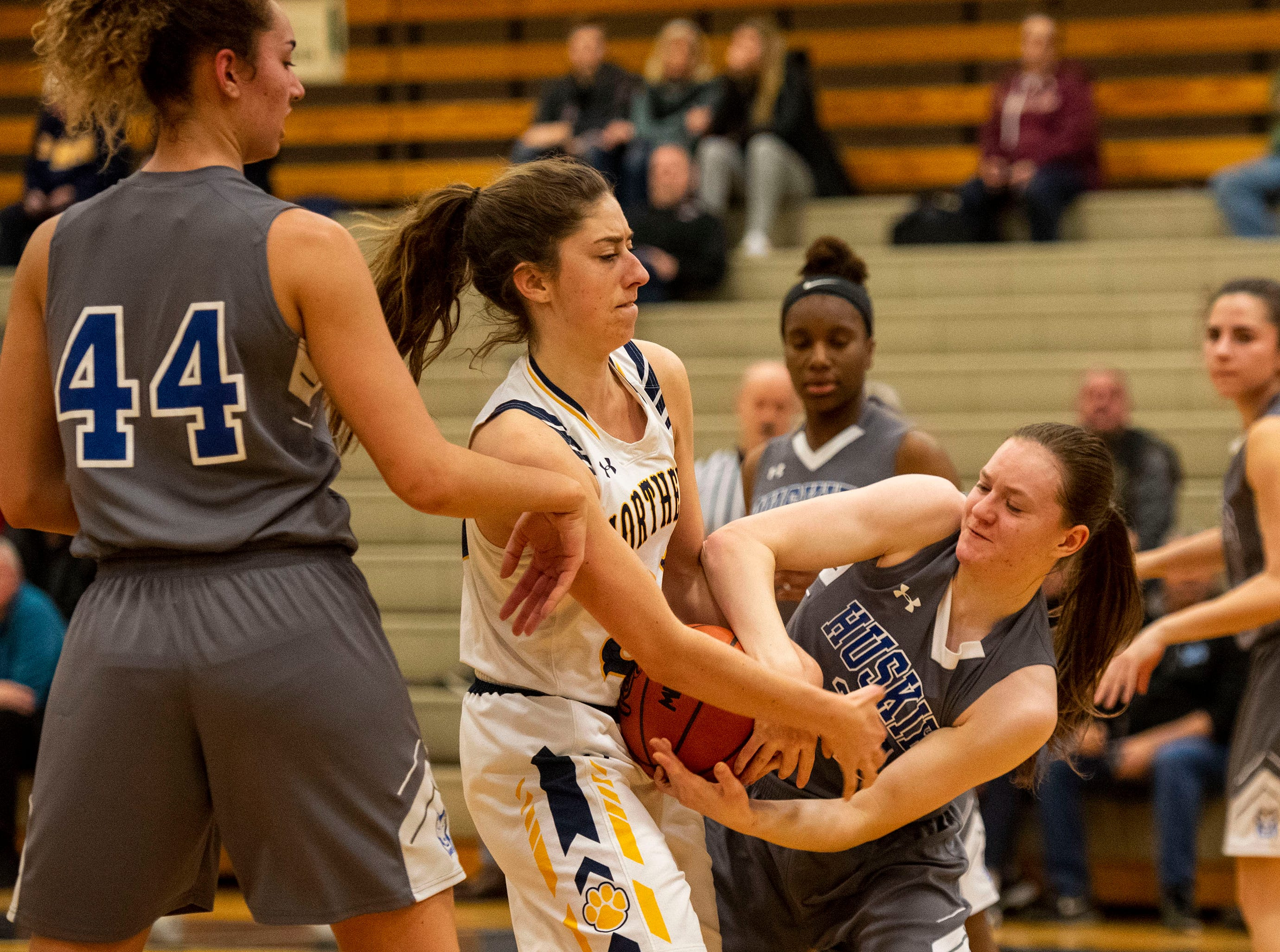 Port Huron Northern High School forward Syndey Koppinger (center) fights with Lakeview High School guard Taedom Stein for the ball during the MHSAA Division 1 Region 8 girls basketball finals Wednesday, March 13, 2019 at Macomb Dakota High School.