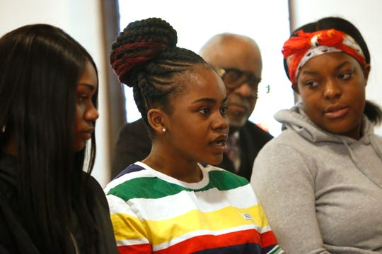From left, Jamela Barnett, Julissa Dawkins and Jahnya Webb at Smith Metropolitan AME Zion Church in the City of Poughkeepsie on March 13, 2019. The trio talk about their recent encounter with the City of Poughkeepsie Police Department which produced a viral video on social media.