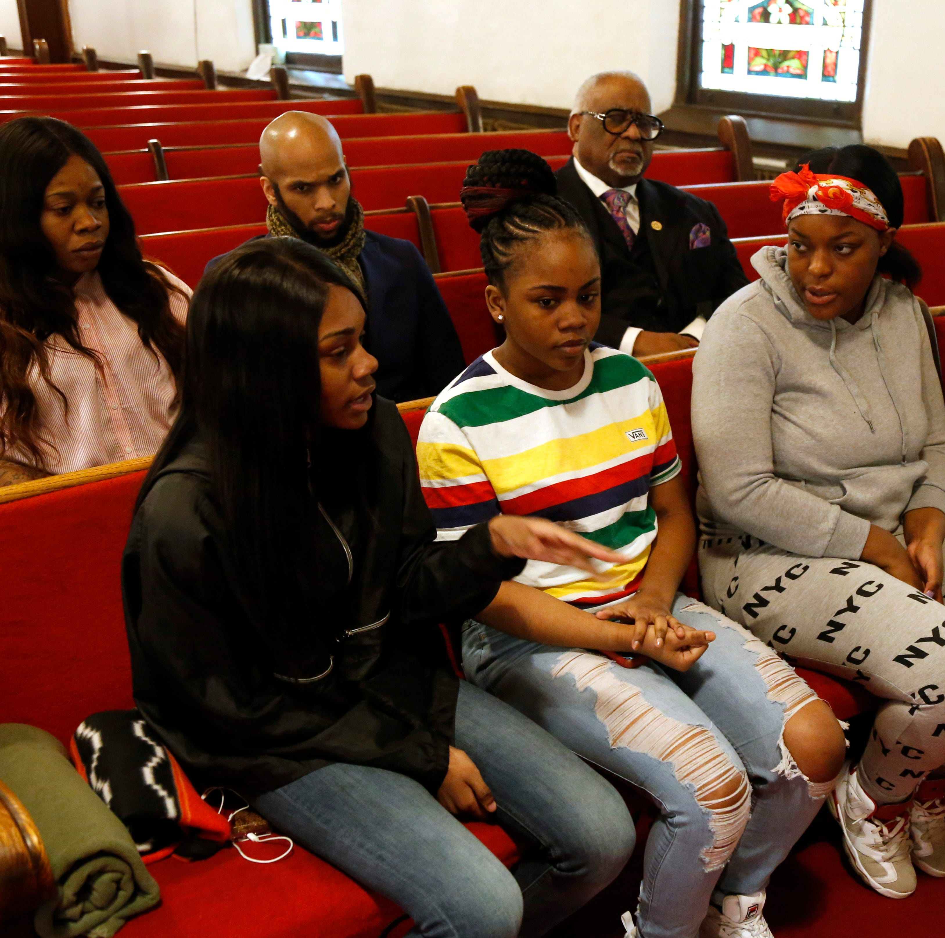 Front row, from left, Jamela Barnett, Julissa Dawkins, Jahnya Webb and Kimora Thompson, back row from left, Melissa Lynch, Pastor Edwrin Sutton, and Pastor Jesse Bottoms at Smith Metropolitan AME Zion Church in the City of Poughkeepsie on March 13, 2019.