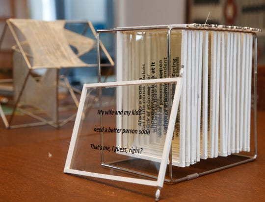 """A deconstructed book of haiku titled """"17 Syllables"""" created by Pam Wright at her home in Rhinebeck on March 7 2019. Wright collaborated with prisoners at the Dutchess County Jail to create a series of deconstructed books."""