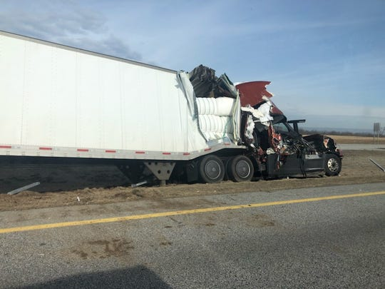 A tractor-trailer sustained significant damage to its cab and part of the trailer after striking another tractor-trailer at about 9 a.m. Wednesday, March 13, 2019, on northbound Interstate 81 just south of Exit 10 in Marion, Guilford Township.