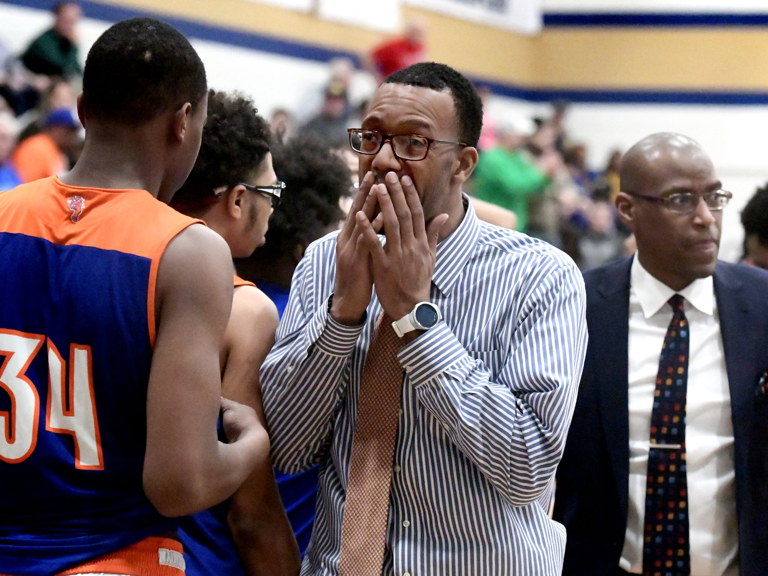 York High coaches react after their teams' loss in a PIAA Class 5-A second-round state boys' basketball playoff game against Mars at Holidaysburg High School in Blair County Tuesday, March 12, 2019. York lost 60-59. Bill Kalina photo