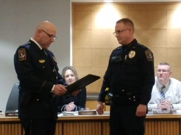West Manchester Township Police Sgt. Adam Bruckhart is recognized at the township's board of supervisors meeting in February. He was one of four promoted this year. Photo courtesy of West Manchester Township Police.