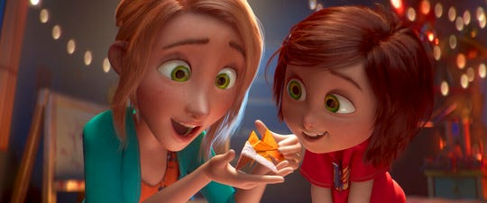 """June, voiced by Sofia Mali, right, and her mom, voiced by Jennifer Garner, are shown in a scene from """"Wonder Park."""" The movie is playing at Regal West Manchester Stadium 13 and R/C Hanover Movies."""