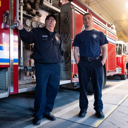"Not a day goes by that firefighters Don ""Newc"" Newcomer, left, and Brandon Sawyer, right, don't think about their partners and very good friends, Ivan Flanscha and Zach Anthony, who died March 22, 2018 at the Weaver building fire site."