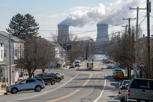 This view is looking down Broadway in Goldsboro, York County, at the Exelon Three Mile Island Nuclear Generating Station, located just across the Susquehanna River.