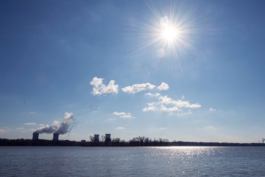 This is looking down Broadway at the Exelon Three Mile Island Nuclear Generating Station across the Susquehanna River from the Goldsboro Boat ramp in 2019.