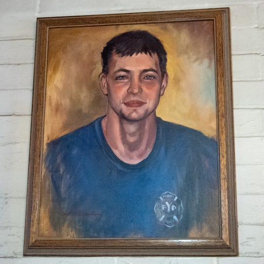 An oil painting of York City firefighter Ivan Flanscha hangs in the Laurel-Rex Fire Station lounge. His painting, along with Zachary Anthony's, were given to the fire department by a member of the community.