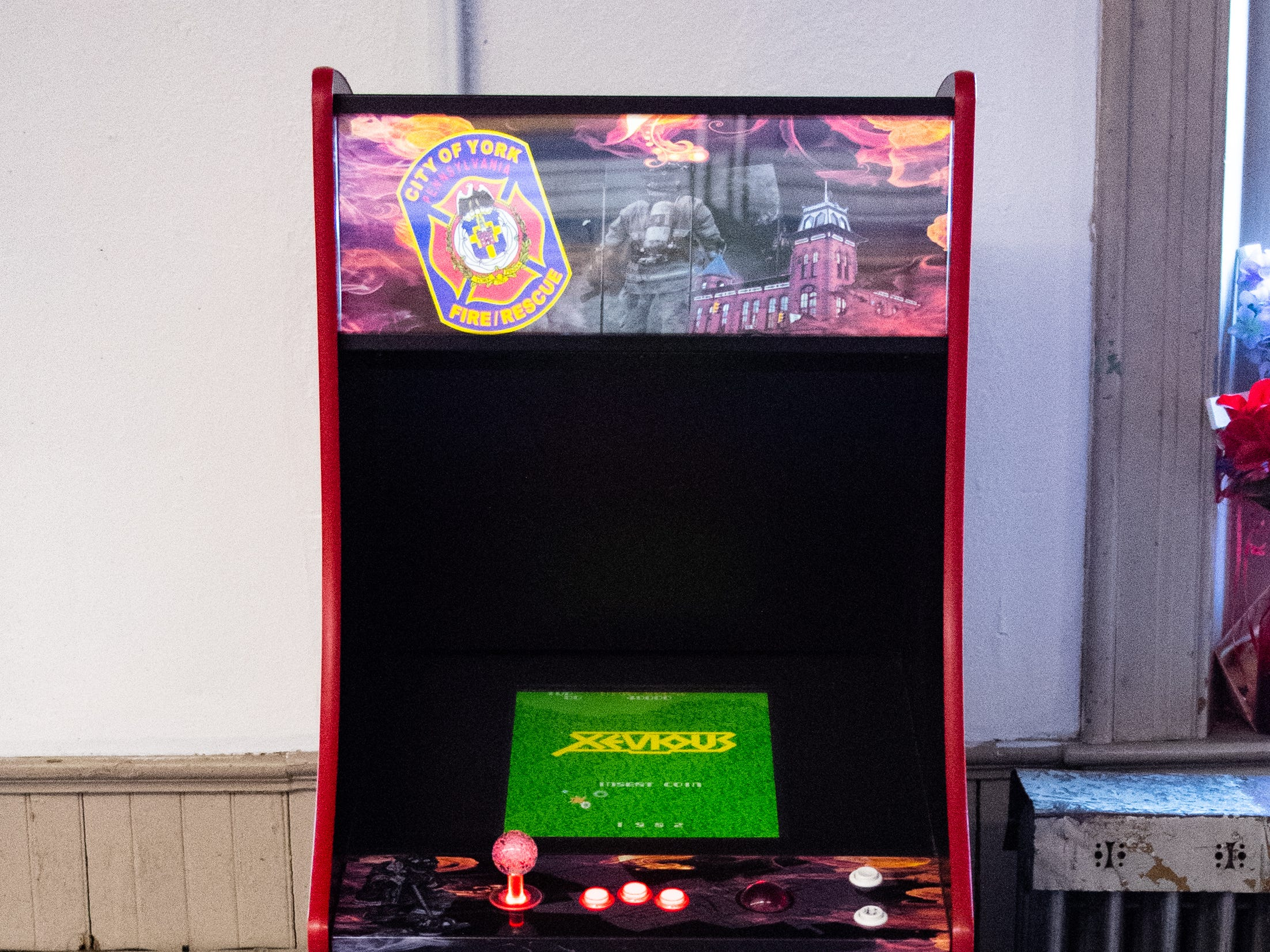 An arcade game dedicated to the York City firefighters was given to the station to help pass the time when they aren't putting out fires, March 12, 2019.