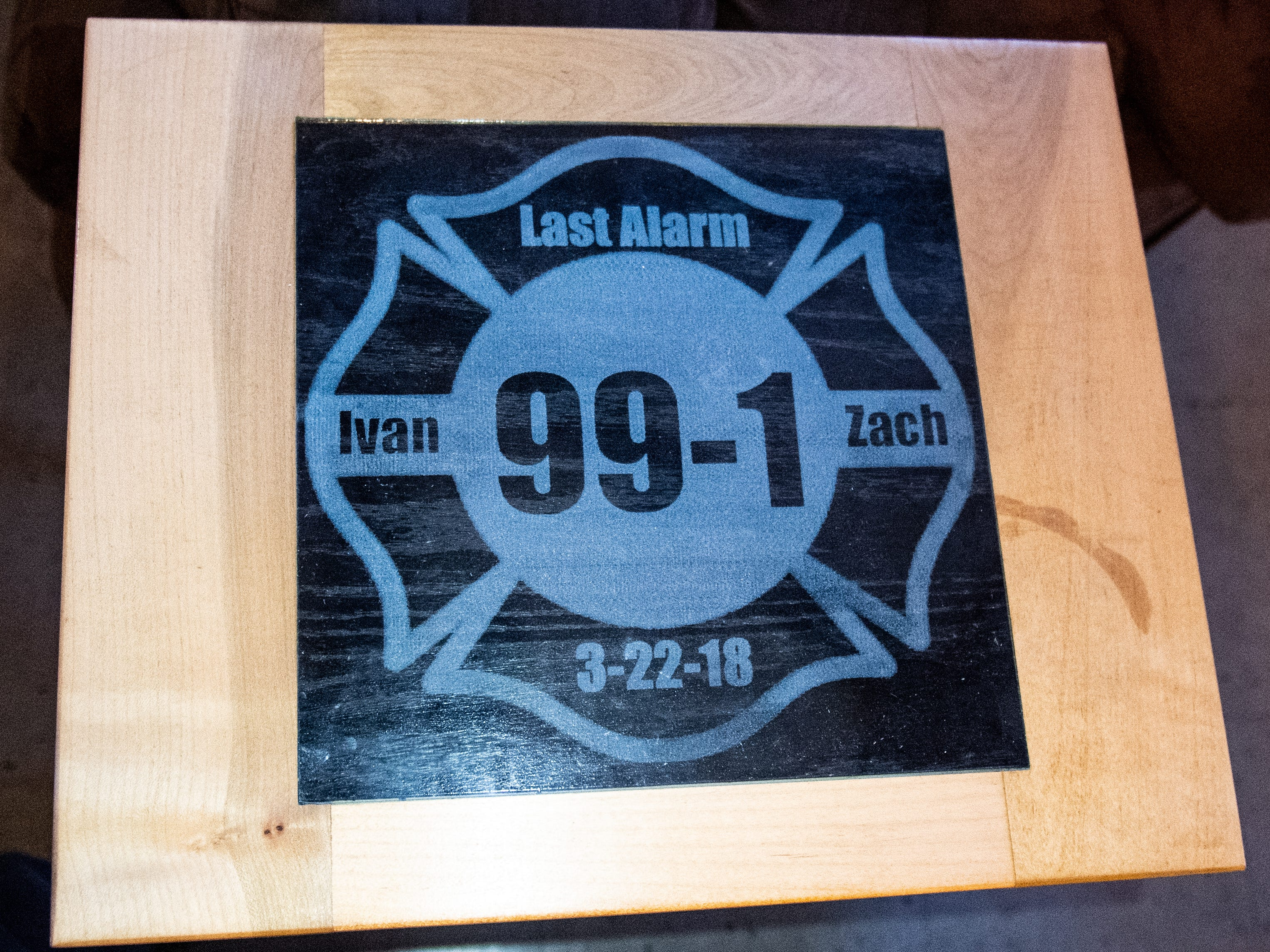 This coffee table in the Laurel-Rex Fire Station lounge was a gift to the department from members of the community, March 12, 2019.