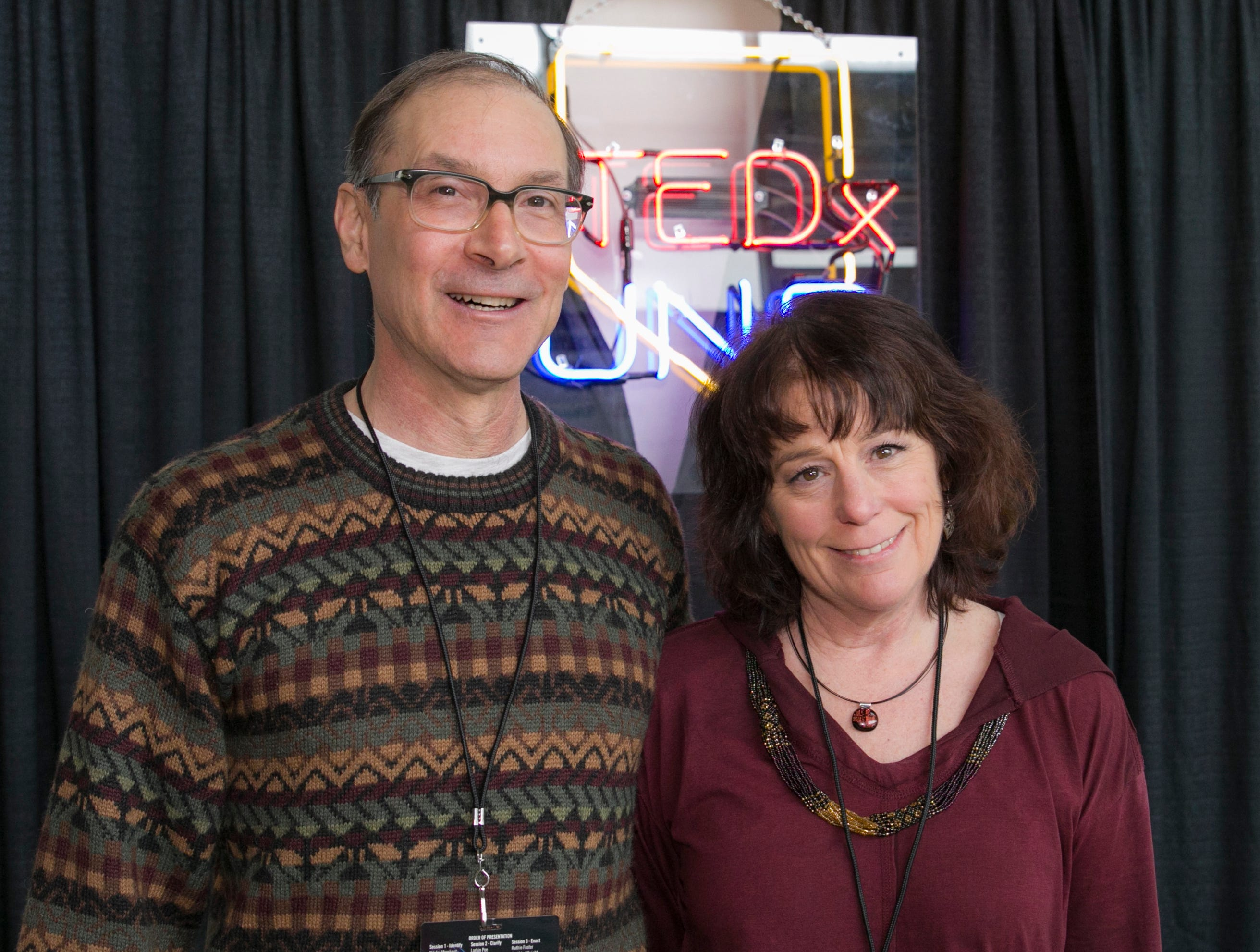Ron Bradley and Linda McNeil during TEDx University of Nevada 2019 at the Reno-Sparks Convention Center on Saturday, Feb. 23, 2019.