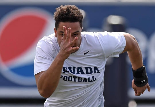 Former Reed high player Trae Carter-Wells participates in the Wolf Pack football team's pro day where former Pack players worked out for NFL scouts at Mackay Stadium on Wednesday March 13, 2019