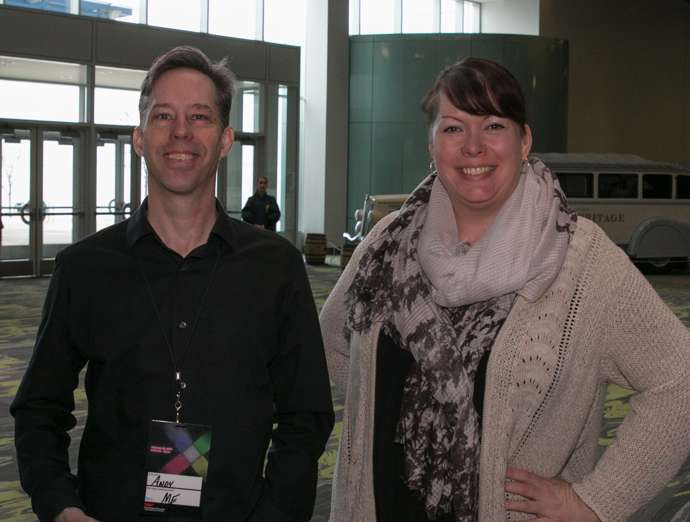 Andy Matthews and Kimberly Franco during TEDx University of Nevada 2019 at the Reno-Sparks Convention Center on Saturday, Feb. 23, 2019.
