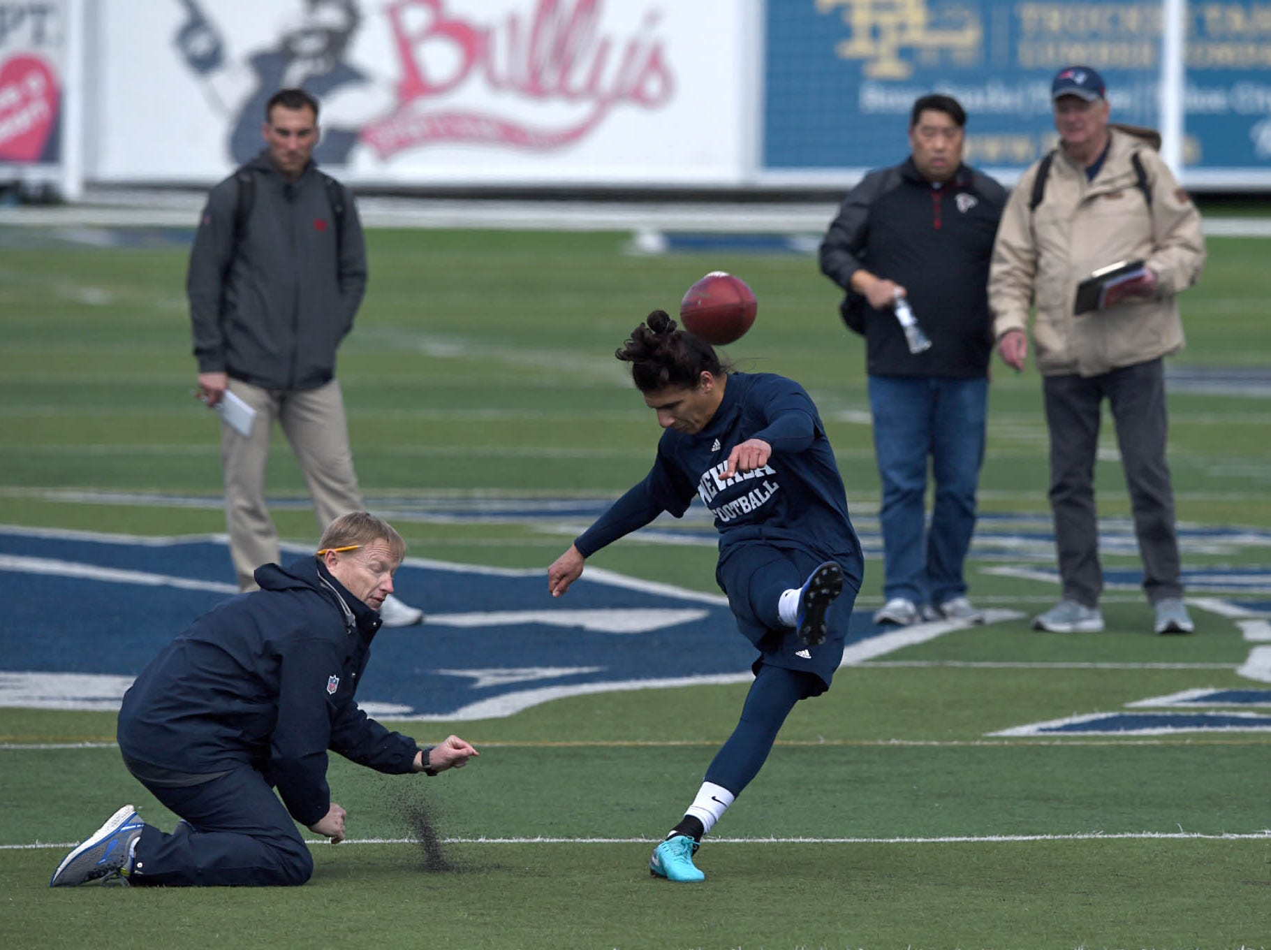 Former Nevada football players participates in the Wolf Pack football team's Pro Day where former Pack players worked out for NFL scouts at Mackay Stadium on Wednesday March 13, 2019