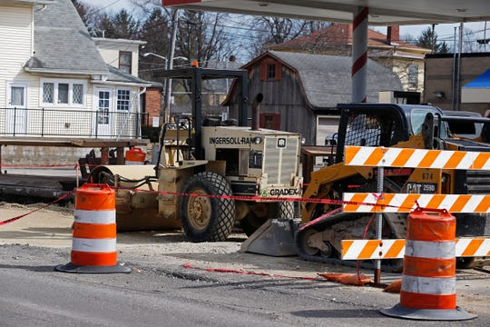 Construction equipment sits on South A Street between Eighth and Ninth streets in Richmond. That section of the road is one of the unfinished items still to be taken care of in the U.S. 27/U.S. 40 project.
