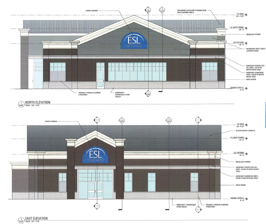 Renderings of the exterior of the ESL Federal Credit Union branch to be built at Hudson and Titus avenues in Irondequoit.