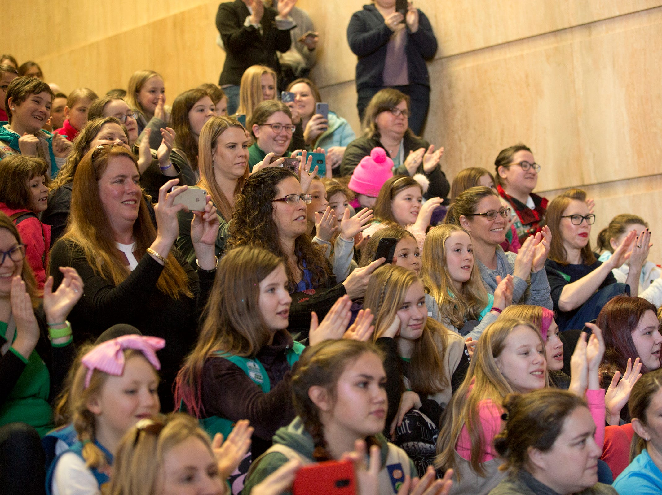 Around 200 Girl Scouts from across the state and 100 adult volunteers react to Gov. Kate Brown during Girl Scout Leadership Day at the Oregon State Capitol in Salem March 12, 2019.