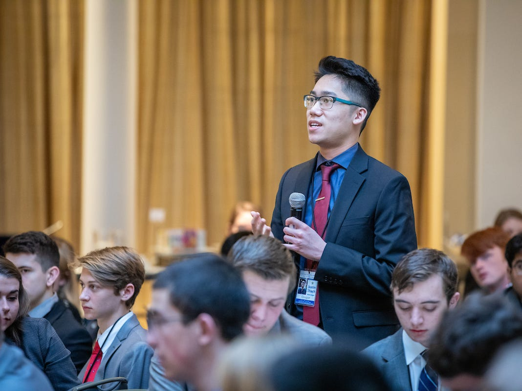 West Salem High School senior Justin Thach asks a question during the 57th annual United States Senate Youth Program held in Washington, D.C., on March 2-9, 2019.