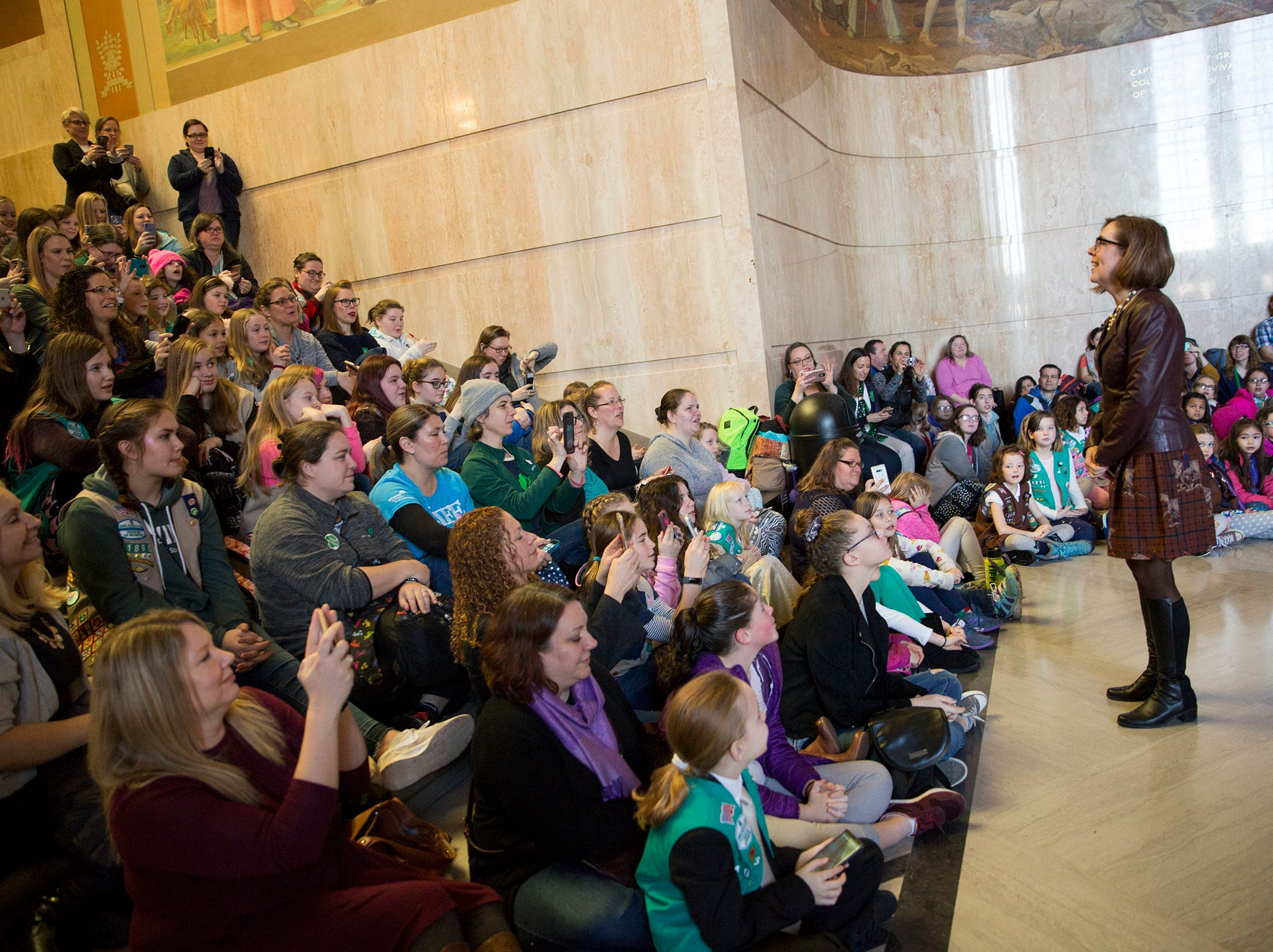Gov. Kate Brown introduces herself to girls scouts from across the state during Girl Scout Leadership Day at the Oregon State Capitol in Salem March 12, 2019.