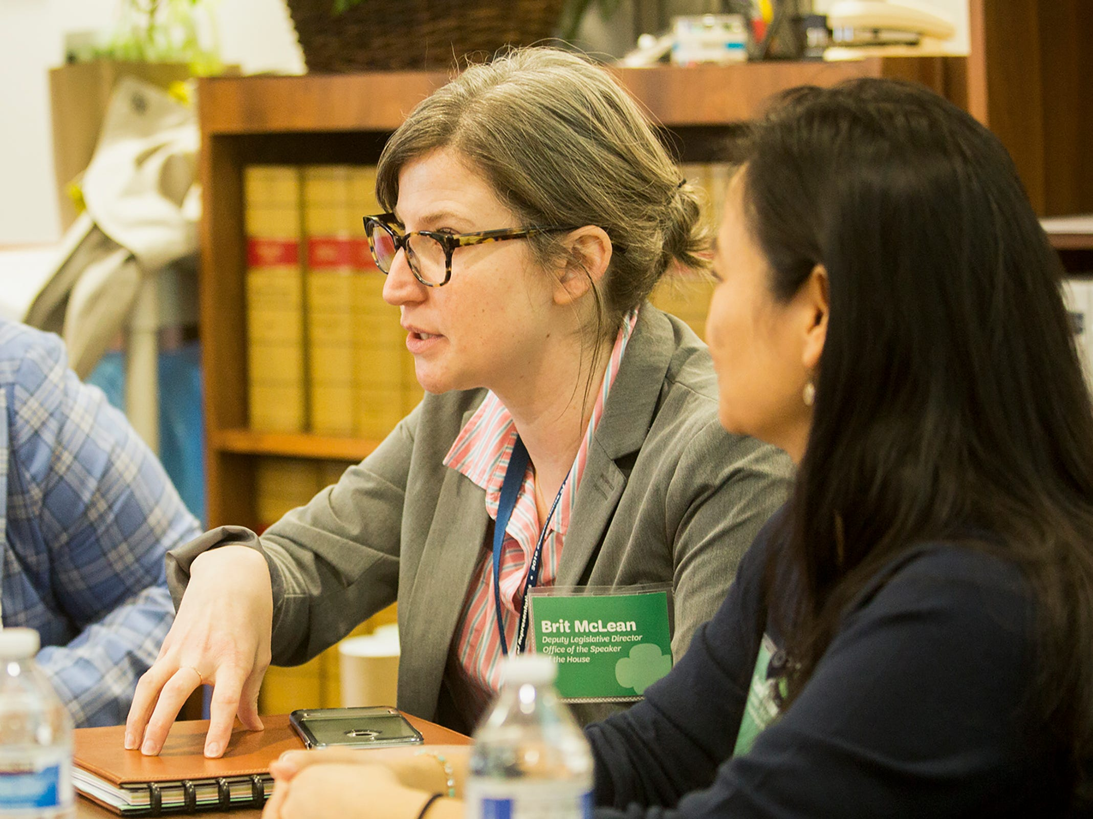 Deputy Legislative Director, Brit McLean, talks to Girl Scouts about some of the challenges working in government during Girl Scout Leadership Day at the Oregon State Capitol in Salem March 12, 2019.