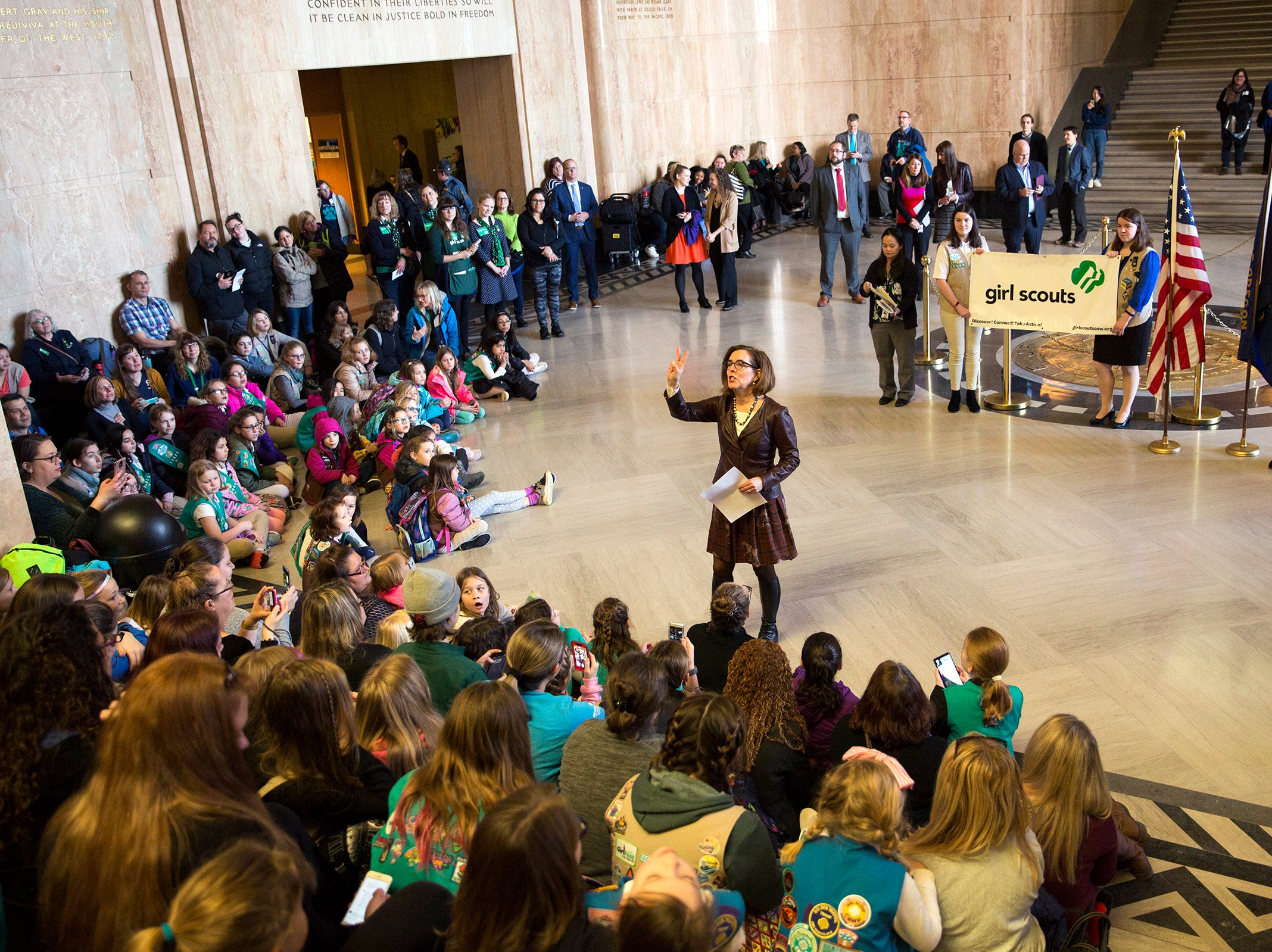 Gov. Kate Brown speaks to nearly 200 Girl Scouts and 100 adult volunteers during Girl Scout Leadership Day at the Oregon State Capitol in Salem March 12, 2019.