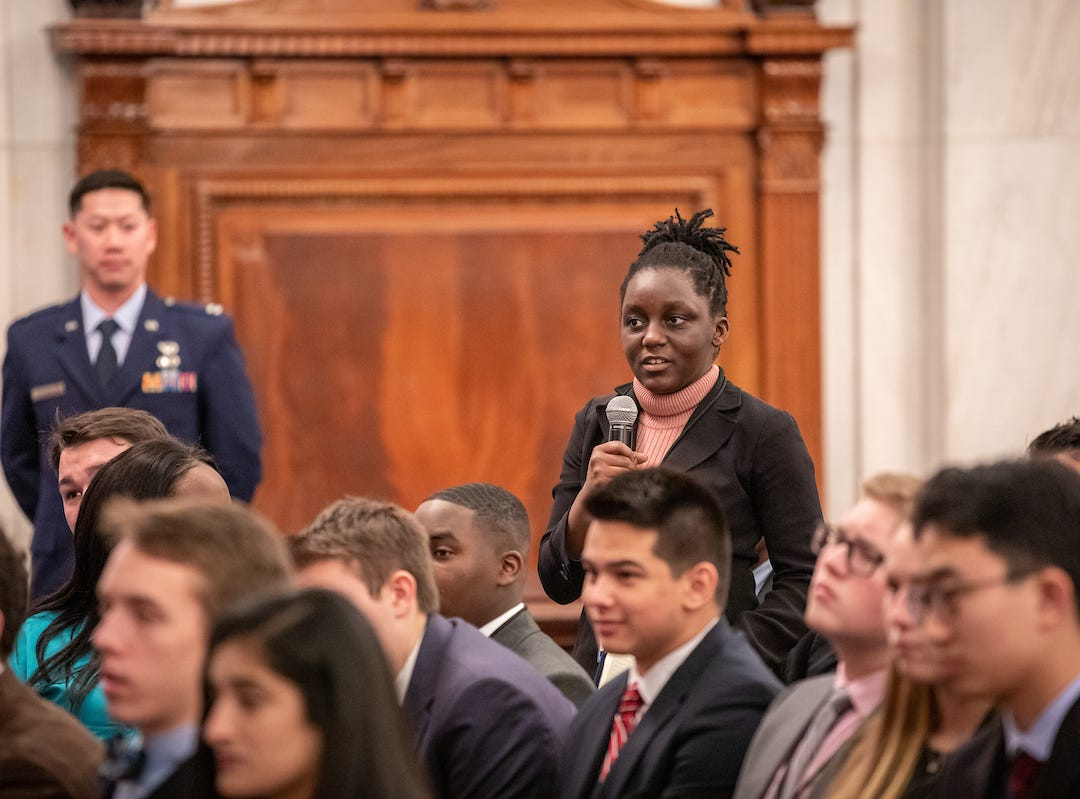 South Salem High School senior Kudzai Kapurura asks a question during the 57th annual United States Senate Youth Program held in Washington, D.C., on March 2-9, 2019.
