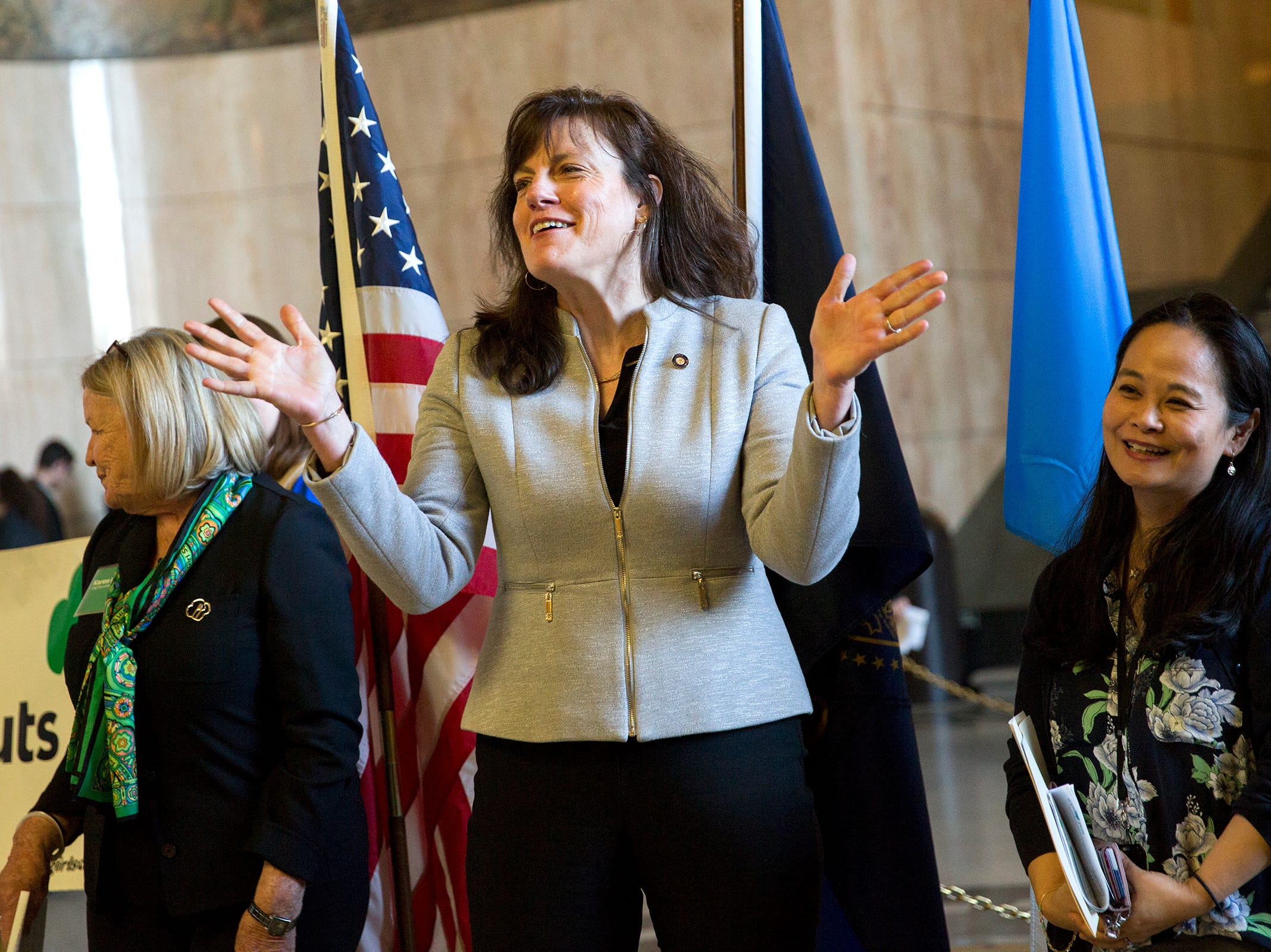 Senator Kathleen Taylor, D-Milwaukie, speaks to Girl Scouts from across the state during Girl Scout Leadership Day at the Oregon State Capitol in Salem March 12, 2019.
