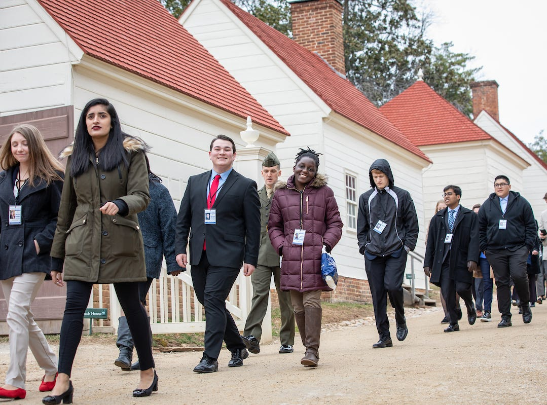 South Salem High School senior Kudzai Kapurura, center, walks with fellow students taking part in the 57th annual United States Senate Youth Program held in Washington, D.C., on March 2-9, 2019.
