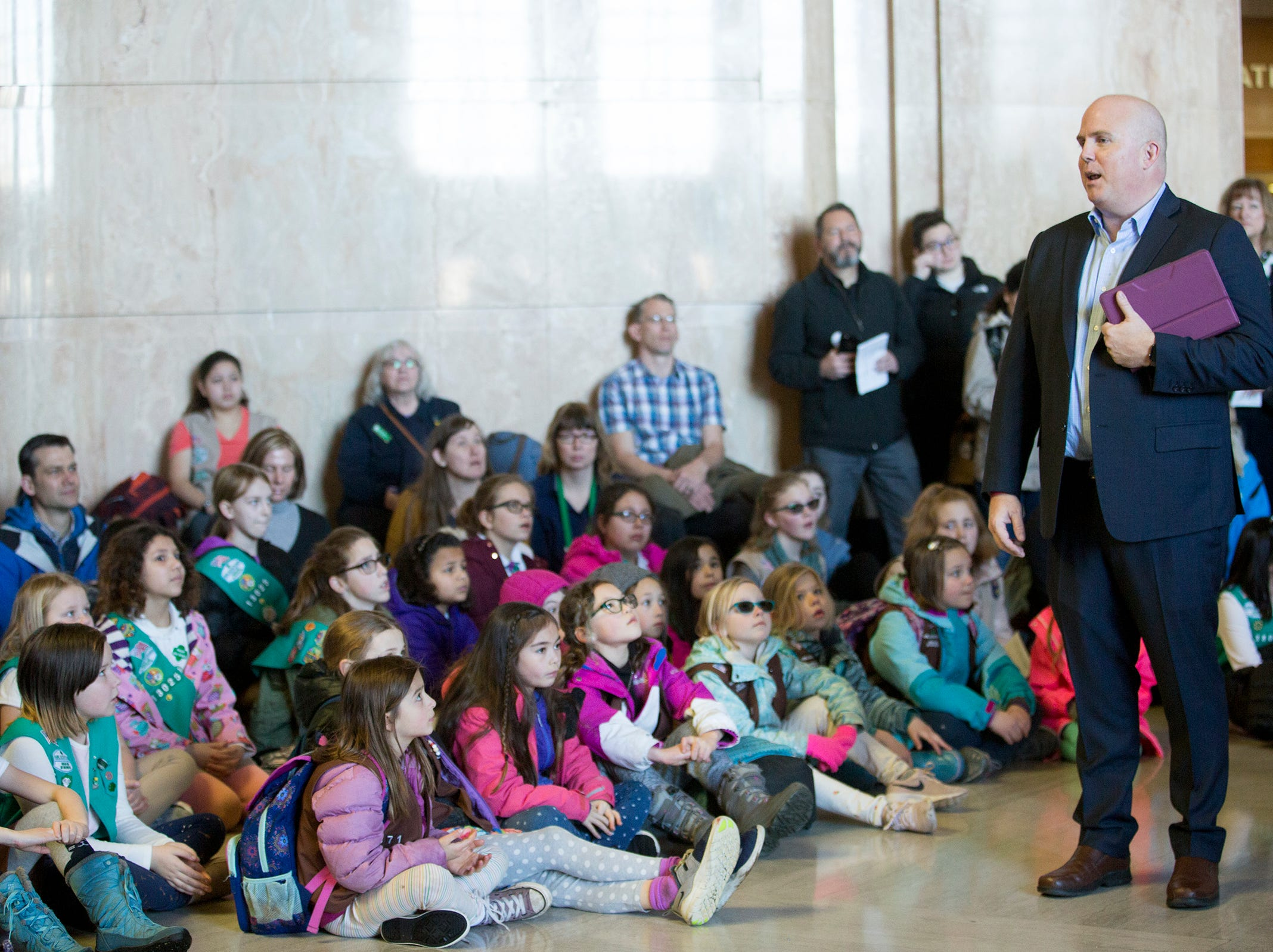 Rep. Brian Clem, D-Salem, speaks to Girl Scouts from across the state during Girl Scout Leadership Day at the Oregon State Capitol in Salem March 12, 2019.