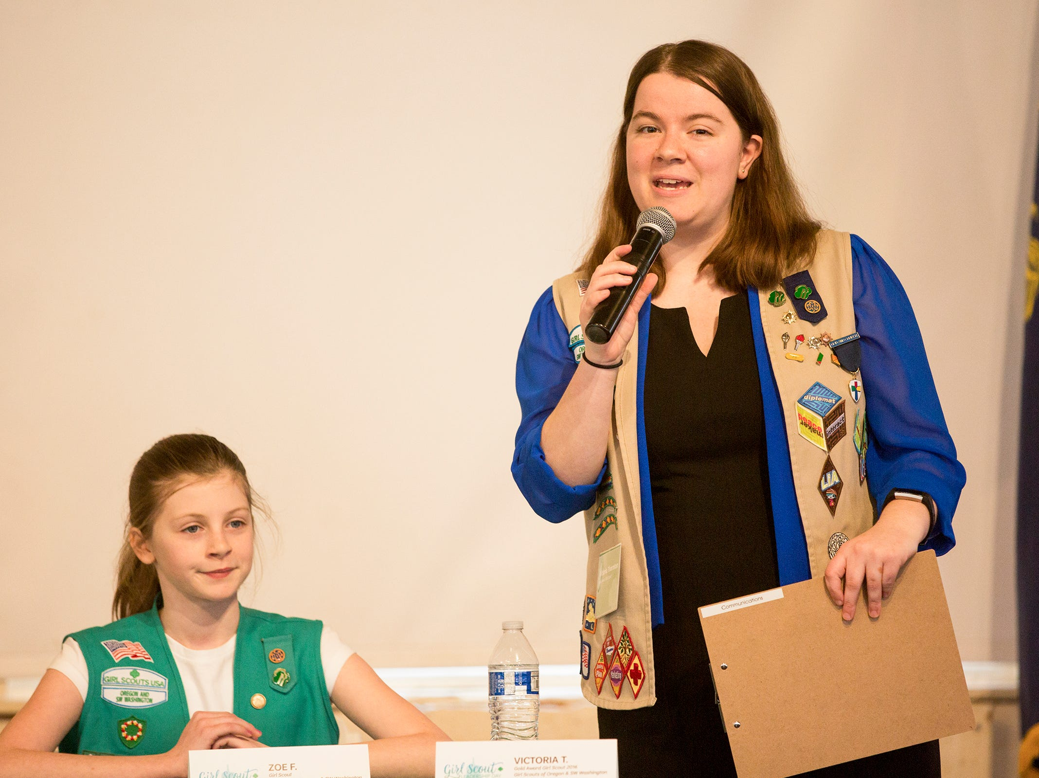 Victoria Thornton, of Vancouver, hosts a Girls Who Make a Difference panel during Girl Scout Leadership Day at the Oregon State Capitol in Salem March 12, 2019.